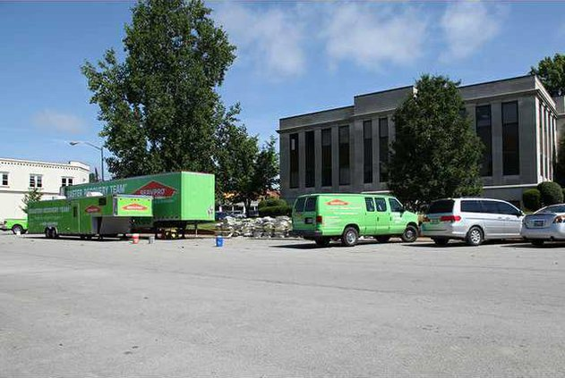 Servpro spent a week at the courthouse cleaning up after a recent fire. RV