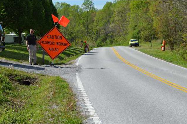 Sheriff Patrick Ray shows an example of a litter pickup work zone. photo prov.JPG