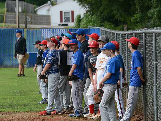 WCMS Pioneer baseball tryouts students line up WEB