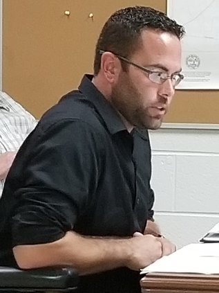 Mayor Josh Miller in his first meeting as mayor.