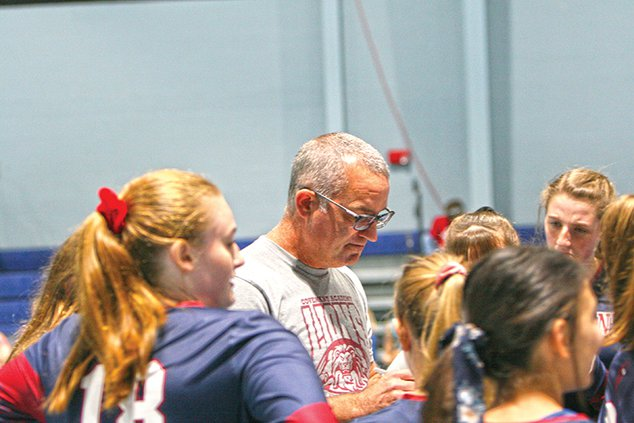 Coach Chris Madewell with Covenant Academy Volleyball.jpg