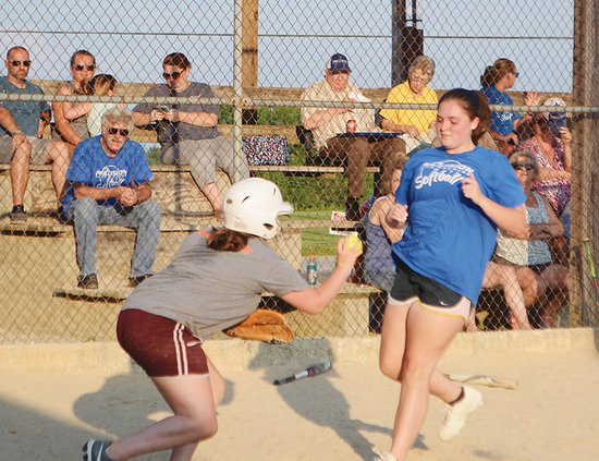 Midway - play at plate Geri Lefever, L, Mary Grace Martin.jpg